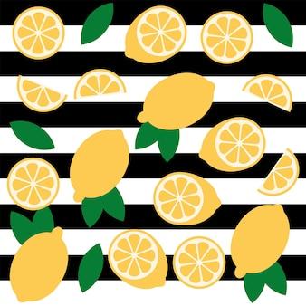 Modèle sans couture d'amusement de vecteur d'agrumes de citron sur un fond rayé noir et blanc