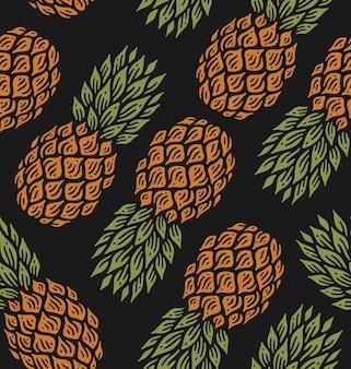 Modèle sans couture d'ananas au design vintage doodle