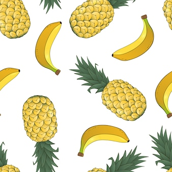 Modèle sans couture d'ananas et de banane sur blanc