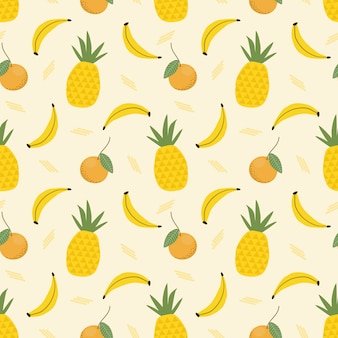 Modèle sans couture d'ananas et de banane.