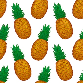 Modèle sans couture d'ananas coloré dessiné à la main
