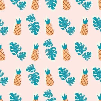 Modèle sans couture d'ananas dessinés à la main
