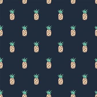 Modèle sans couture d'ananas doodle dessiné main mignon tropical