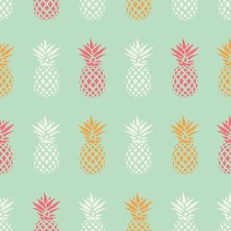Modèle sans couture ananas sur fond de menthe