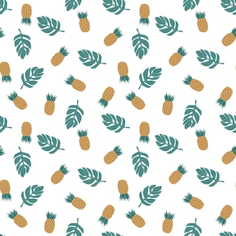 Modèle sans couture d'ananas isolé sur illustration vectorielle blanc fond tropical