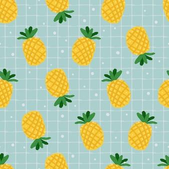 Modèle sans couture d'ananas jaune dessiné à la main