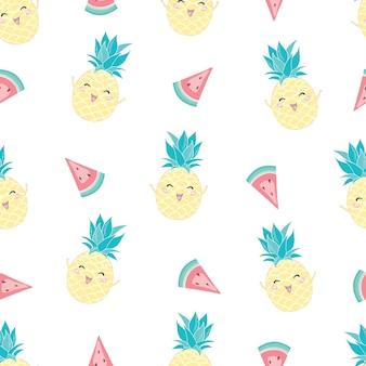 Modèle sans couture avec ananas mignon et melon d'eau