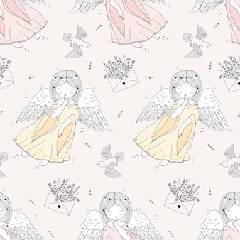 Modèle sans couture d'anges dessinés à la main