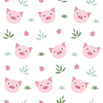 Modèle sans couture animal cochon