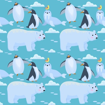 Modèle sans couture animal mignon pôle nord.