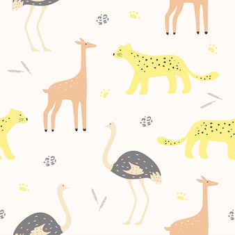 Modèle sans couture animal mignon pour papier peint