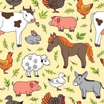 Modèle sans couture avec des animaux domestiques