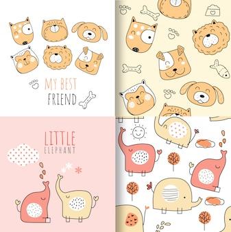 Modèle sans couture animaux doodle coloré