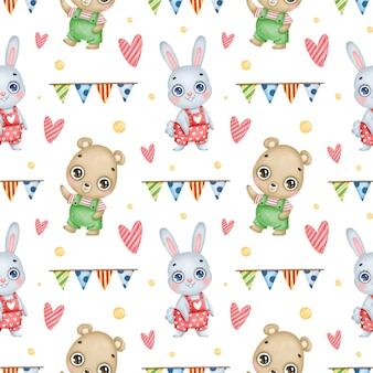 Modèle sans couture d'animaux de forêt anniversaire dessin animé mignon sur fond blanc. fête d'anniversaire avec un lapin et un ours