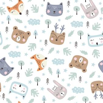Modèle sans couture avec des animaux de la forêt mignons. tyle dessiné à la main.