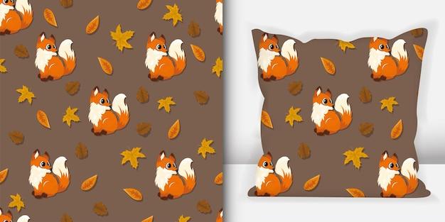 Modèle sans couture d'animaux de la forêt. modèle de loup avec maquette d'oreiller