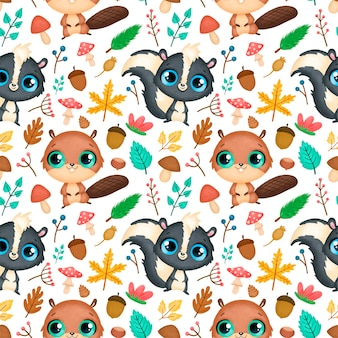 Modèle sans couture d'animaux de la forêt. motif castor et mouffette.