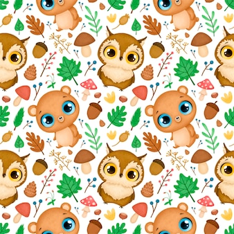 Modèle sans couture d'animaux de la forêt. motif de hibou et ours.