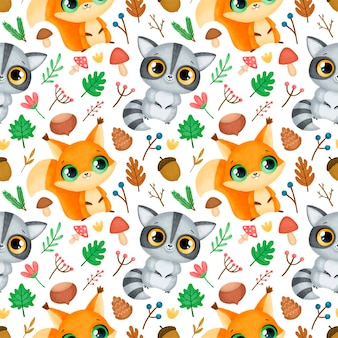 Modèle sans couture d'animaux de la forêt. motif raton laveur et écureuil.