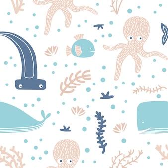 Modèle sans couture avec des animaux marins et des éléments.