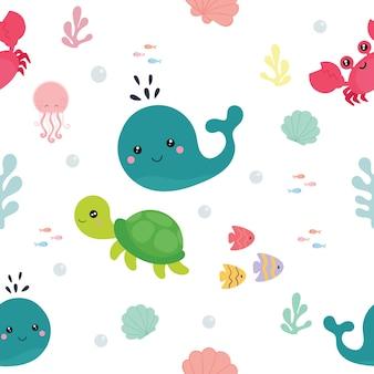 Modèle sans couture avec des animaux marins.