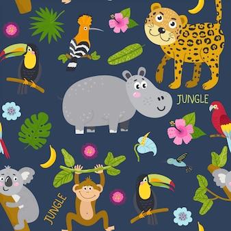 Modèle sans couture avec des animaux marrants de la jungle