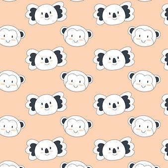 Modèle sans couture d'animaux mignons avec singe et koala