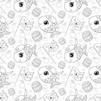 Modèle sans couture d'animaux de pirates de dessin animé mignon. modèle de pirate de poisson doodle. coloriage de poisson pirate