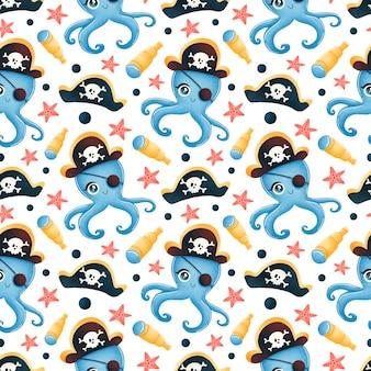Modèle sans couture d'animaux de pirates de dessin animé mignon. motif de pirate de poulpe