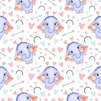 Modèle sans couture d'animaux de la saint-valentin. modèle sans couture de dessin animé mignon éléphant cupidon.