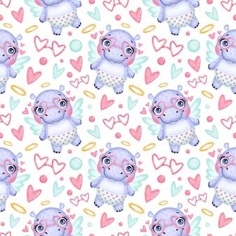 Modèle sans couture d'animaux de la saint-valentin. modèle sans couture de dessin animé mignon hippopotame cupidon.