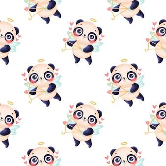 Modèle sans couture d'animaux de la saint-valentin. modèle sans couture de dessin animé mignon panda cupidon.