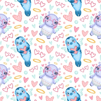 Modèle sans couture d'animaux de la saint-valentin. sceau de dessin animé mignon et modèle sans couture de cupidons hippopotames.