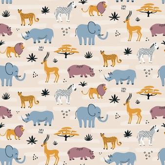 Modèle sans couture d'animaux sauvages