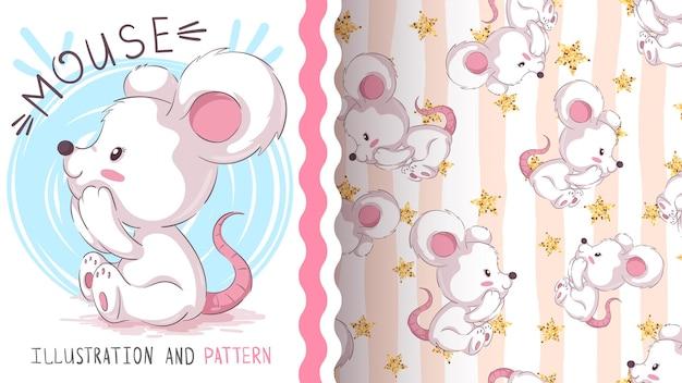 Modèle sans couture animaux souris dessin animé enfantin personnage