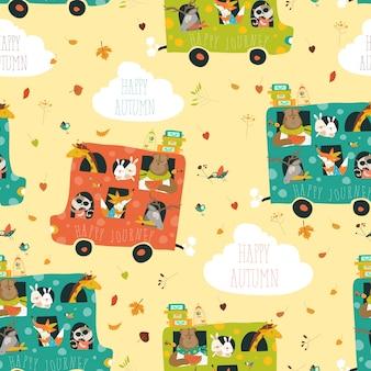 Modèle sans couture animaux voyageant en bus