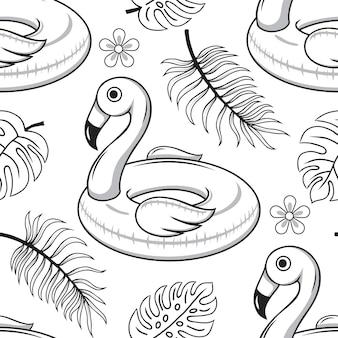 Modèle sans couture de l'anneau en caoutchouc pour la natation, le flamant rose et les feuilles tropicales. dessiné à la main, croquis.