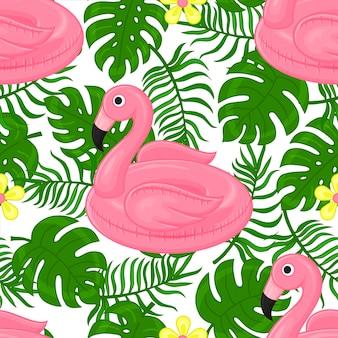 Modèle sans couture de l'anneau en caoutchouc pour la natation, le flamant rose et les feuilles tropicales. style de bande dessinée.