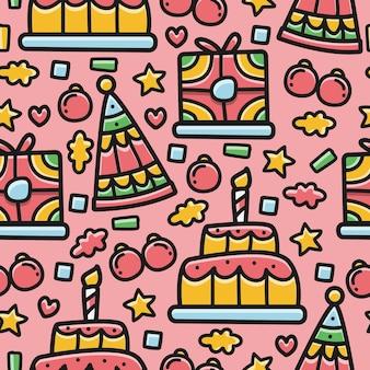 Modèle sans couture anniversaire doodle