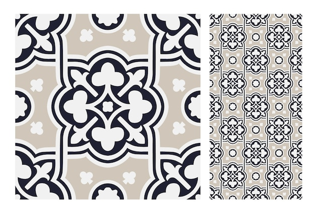 Modèle sans couture antique de carreaux vintage
