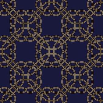 Modèle sans couture antique courbe ronde coin carré ligne de cadre croisé