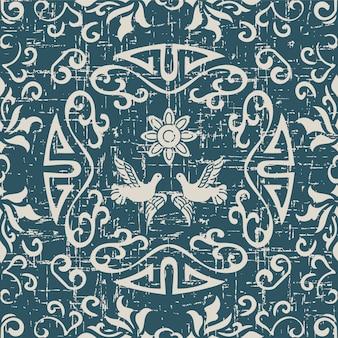 Modèle sans couture antique usé avec fleur de pigeon rond en spirale