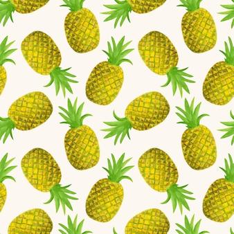 Modèle sans couture aquarelle ananas
