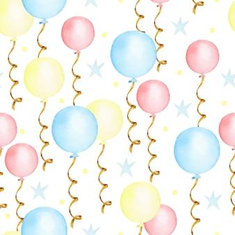 Modèle sans couture aquarelle de ballons colorés