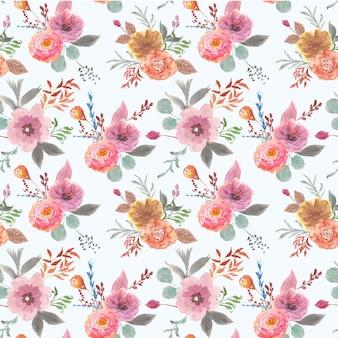Modèle sans couture aquarelle de beaux brunchs floraux doux