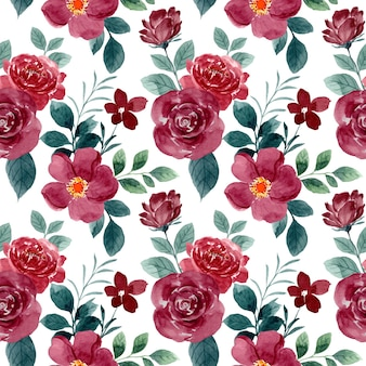 Modèle sans couture aquarelle belle fleur rose rouge