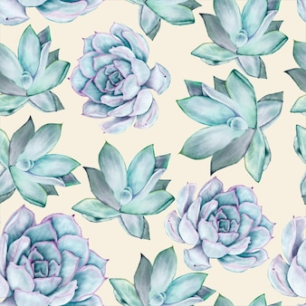 Modèle sans couture aquarelle belle fleur succulente