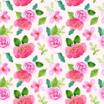 Modèle sans couture aquarelle belle fleur vert rose