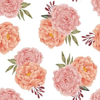 Modèle sans couture aquarelle de bouquet floral de pivoines peintes à la main