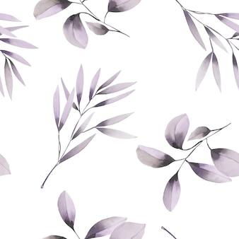 Modèle sans couture aquarelle branches violet